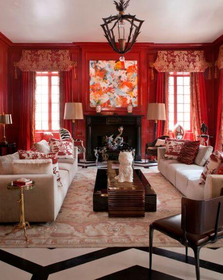 Sơn nhà màu sắc rực rỡ cho phòng khách ấm áp đón tết