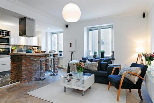 Mẫu thiết kế căn hộ nhỏ ấm cúng với tông màu trắng