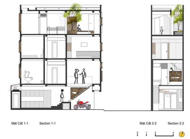 Mẫu thiết kế nhà 4 tầng đẹp lạ tại Hà Nội