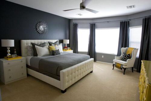 Sơn phòng ngủ màu đen sang trọng bí ẩn với phòng ngủ
